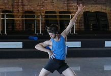 Jesse Homes rehearsing for CoVid Lab. Photo courtesy of West Australian Ballet