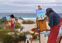 Participants painting
