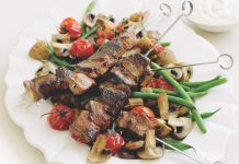 Roast Mushrooms with Lamb Skewers