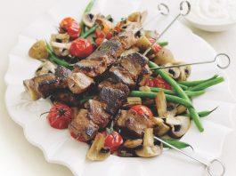 Roast Mushrooms with Lamb Skewers
