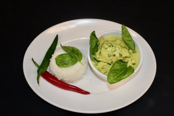chicken, basil and coconut curry