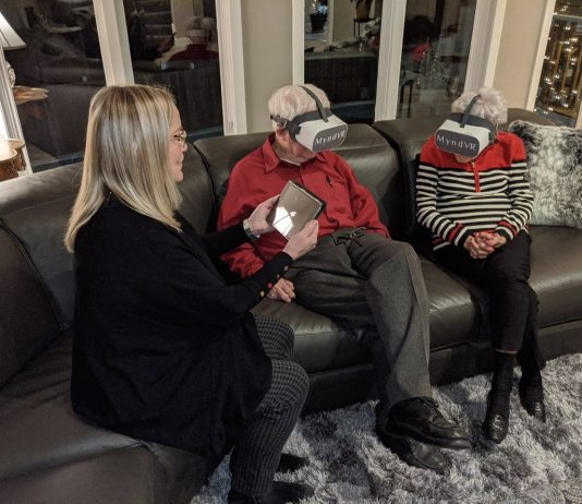 Older couple experiencing virtual reality