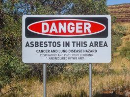 Danger Asbestos in this area sign