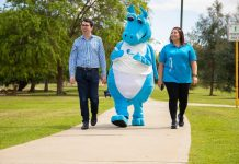 Federal MP Patrick Gorman - Asthma WA mascot Puffer and Asthma WACEO Donna Rendell