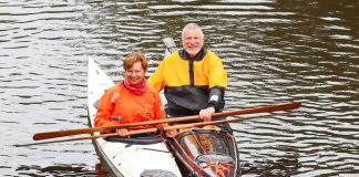 Jenni Harrison and Les Allen in their kayaks