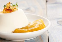 Panna cotta with poached pear